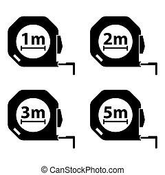 Measuring tape. Measurement methods. Set of black icons