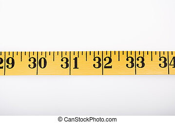 Measuring tape in a straight line.