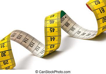 Winding tape measure against white.