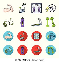 Measuring tape, water bottle, treadmill, dumbbells. Fitnes set collection icons in cartoon,flat style vector symbol stock illustration web.