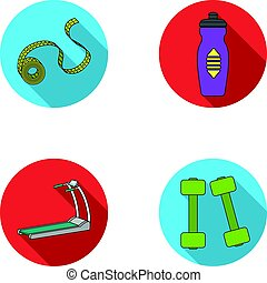 Measuring tape, water bottle, treadmill, dumbbells. Fitnes set collection icons in flat style vector symbol stock illustration web.