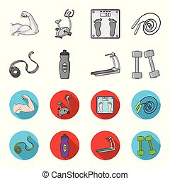 Measuring tape, water bottle, treadmill, dumbbells. Fitnes set collection icons in monochrome,flat style vector symbol stock illustration web.