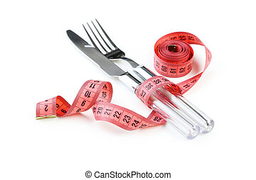 Measuring tape with knife and fork isolated on white
