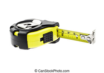 Measuring tape with magnetic head - Close up of measuring...