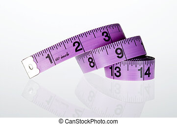 Measuring tape with reflection - Purple household measuring...