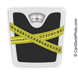 Measuring tape wrapped around bathroom scales. Concept of weight loss, diet, healthy lifestyle.