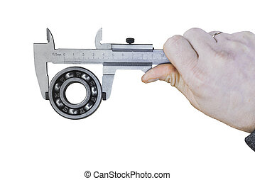 Measuring the size of the ball bearing