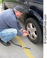 Measuring Tire Pressure - Measuring the air pressure in the ...