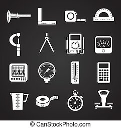 Measuring tool related icons set on background for graphic and web design. Simple illustration. Internet concept symbol for website button or mobile app.