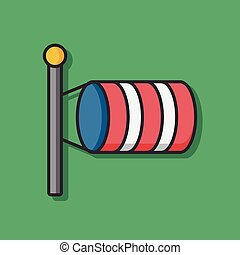 Measuring wind speed flag vector icon