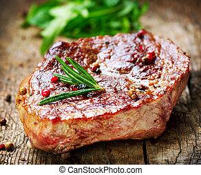 meat., グリルされた, ステーキ