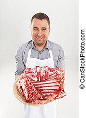 meat., 提示, 若い, 肉屋, シェフ, 未加工, 保有物, 専門家, 微笑, あばら骨