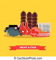 Meat and fish food products vector illustration in flat style design