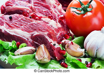 meat and fresh vegetables