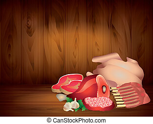 Meat and greens on wooden background in vector - Meat and ...