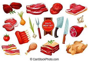 Meat and poultry with cutlery, vegetables