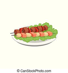 Meat and salmon kebab, grilled food on a skewers served on a plate vector Illustration on a white background