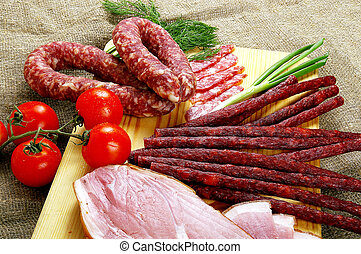 Meat and sausage products - very popular meal at many people