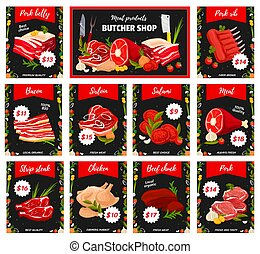 Meat and tenderloin types, butchery shop products - Meat ...