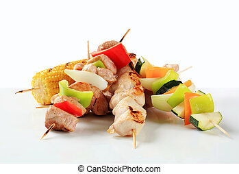 Meat and vegetable skewers - Pork, chicken and vegetable...