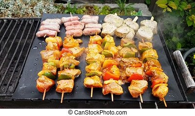 Meat and vegetables baked on an open fire