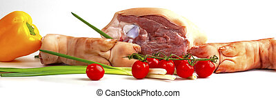 meat and vegetables on white background