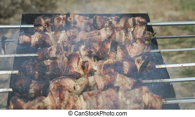 Meat are prepared on the metal skewers on a grill