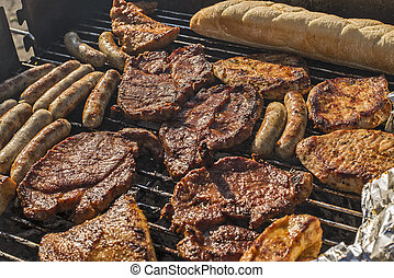 meat barbecue grill - different kinds of meat and sausages...
