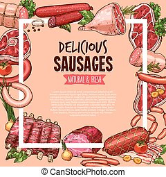 Meat, beef and pork sausage poster, food design