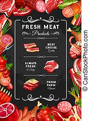 Meat beef and pork sausages, butcher shop