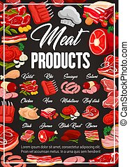 Meat beef and pork sausages, food products