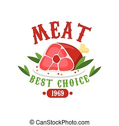 Meat, best choice 1969 logo template design, badge for meat...