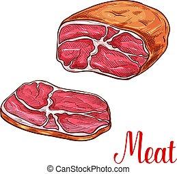 Meat brisket sketch with slice of beef or pork - Meat ...