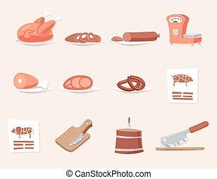 Meat Butcher Shop Retro Vintage Cartoon Design Icon Set Vector Illustration