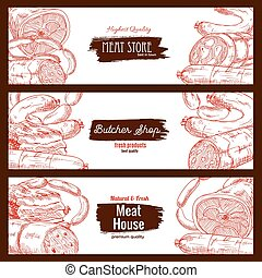 Meat, butchery products, sausages banners sketch