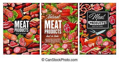 Meat, chicken legs, smoked sausages. Butcher shop products ...