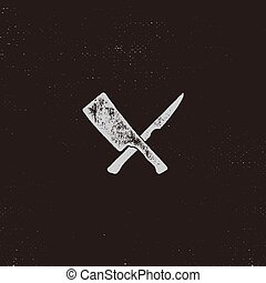 meat cleaver and knife symbols. Vintage steak house symbol....