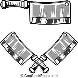 Meat cleaver illustration isolated on white background. Design element for logo, label, emblem, sign.