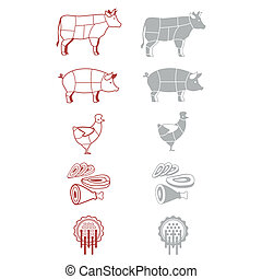 meat - signs-icons for the grocery of denotation of meat