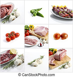 meat collage on white background