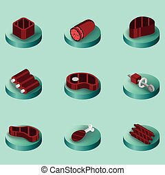 Meat color isometric icons. Vector illustration, EPS 10