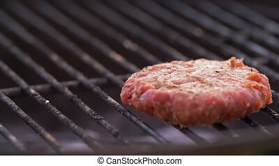 meat cutlet with cheese roasting on barbecue grill - cooking...