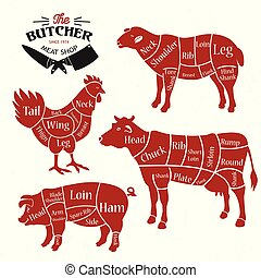 meat cuts diagrams for butcher shop animal silhouette vector illustration meat cuts diagrams eps vector_csp59815540 meat cuts diagrams for butcher shop animal silhouette vector