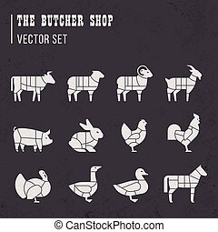 Meat cuts set. Diagrams for butcher shop. Scheme of chicken, beef, pork, etc.