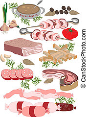 Meat delicatessen - Deli meats, sausages, ham, barbecue,...