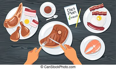 Meat diet plan web banner template