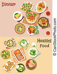 Meat dinner dishes with snacks icon set design