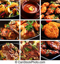 Collection of different meat dishes - soup, schnitzel, BBQ, chicken wings