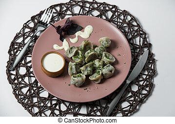 meat dumplings, homemade traditional Ukrainian dish pelmeni
