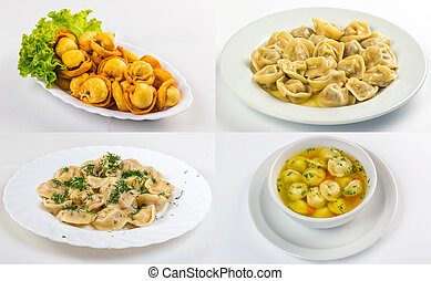 meat dumplings in different conditions image set